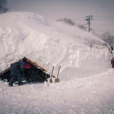 Building snow domes.