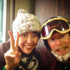 Hiroko's first time skiing.